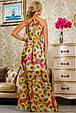 Красивое летнее  платье в пол 2235 красный-цветочный принт, фото 4
