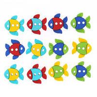 Декоративные пуговицы. Цветные рыбки