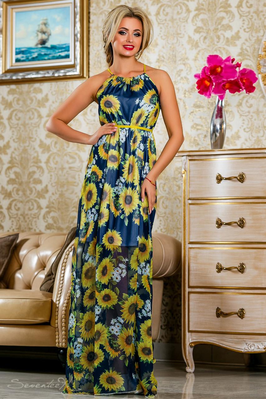 Красивое летнее  платье в пол 2234 синий-цветочный принт
