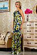 Красивое летнее  платье в пол 2234 синий-цветочный принт, фото 3