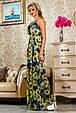 Красивое летнее  платье в пол 2234 синий-цветочный принт, фото 4