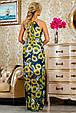Красивое летнее  платье в пол 2234 синий-цветочный принт, фото 5