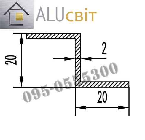 Z-профиль алюминиевый 20х20х1,5 без покрытия, фото 2