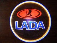 Подсветка дверей LADA .Лазерная проекция логотипа LADA