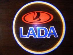 Подсветка дверей LADA .Лазерная проекция логотипа ЛАДА
