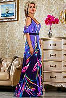 Красивое летнее  платье в пол 2231 сиреневый