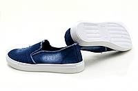 Слипоны синие джинсовые мужские повседневные, фото 1
