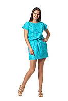 Модное платье Баунти  бирюзовый гипюр