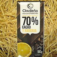 Черный шоколад 70% какао с апельсином без сахара 100 гр.