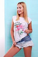 9781ea680527 Молодежная женская белая футболка с принтом Classic ТМ Fashion UP 42-46  размеры