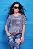 Летняя женская блуза SUZY темно-синий Fashion UP 42-48 размеры