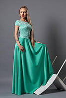 Нарядное платье в пол  с коротким рукавом бирюза размер 40,42,44,46,48