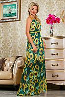 Летнее длинное платье из шифона, зелёное с подсолнухами, размеры 42-48