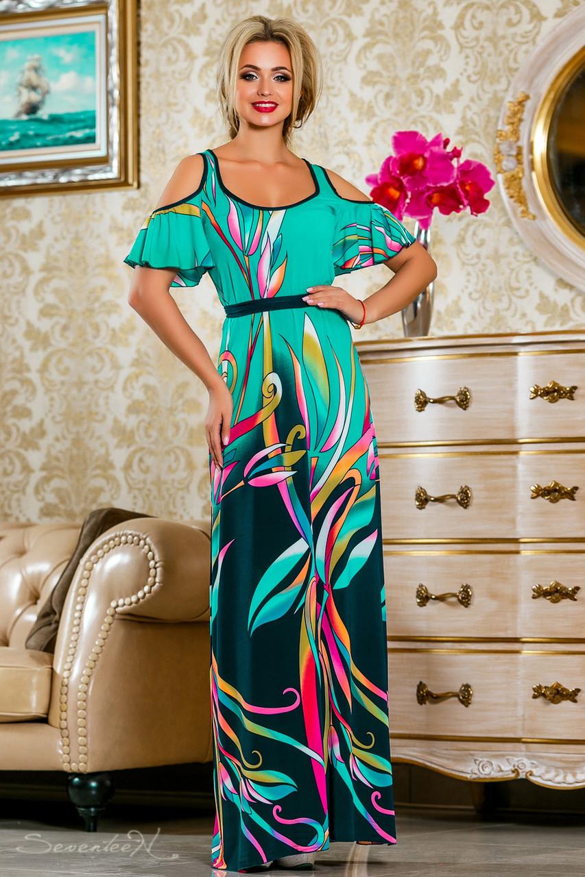 Красивое летнее  платье в пол 2233 бирюзовый
