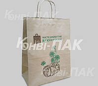 Пакет с кручеными ручками Эко 335х260х140 (Бурый крафт)