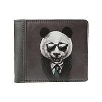 """Стильный кожаный кошелек """"Панда в пиджаке"""" на подарок"""