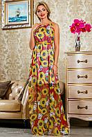 Летнее длинное платье из шифона, красное с подсолнухами, размеры 42-48