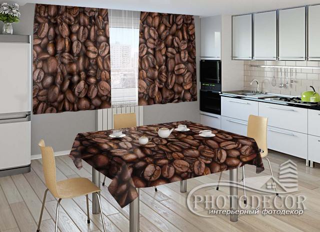 Фото комплект для кухни (штора 1,5м*2,0м; скатерть 0,8м*1,0м)