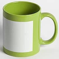 Чашка зеленая с полем для печать