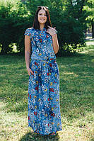 Женское летнее легкое платье из хлопка большие размеры цвет синий размер 46-64