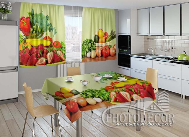 Фото комплект для кухни (штора 2,0м*2,9м; скатерть 1,45м*1,70м)