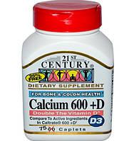 Calcium 600+D(D3), Кальций, витамин D,При остеопорозе,75 таблеток