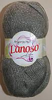 Пряжа для ручного вязания с мохером. Lanoso Angoras металик. Цвет: Серый. 5 мотков