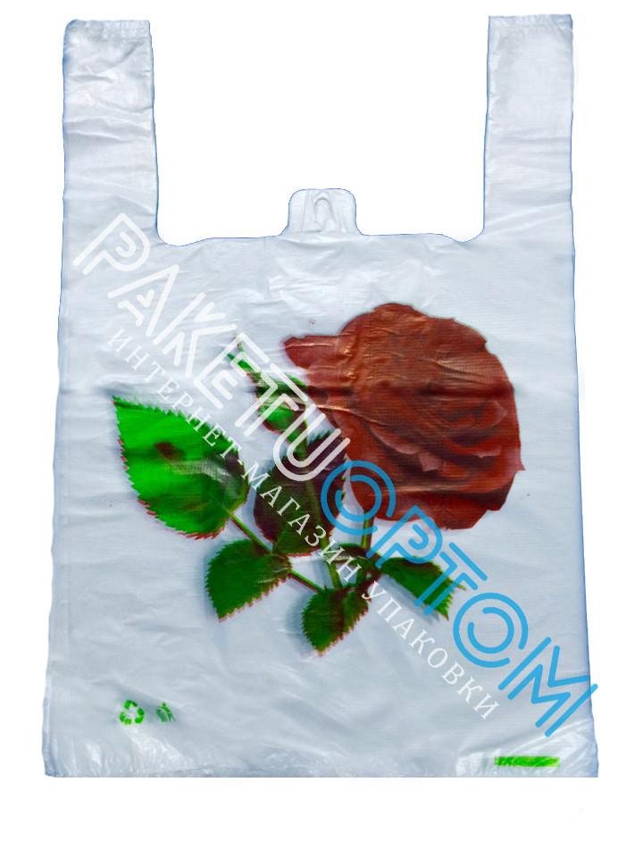 """Пакеты-майка с рисунком """"Роза"""" 30x46 см."""