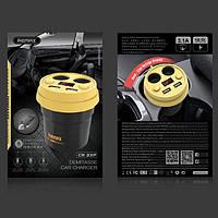Автомобильное зарядное устройство Remax Demitasse CR-2XP 2*AutoPlug 2*USB black-yellow, фото 1