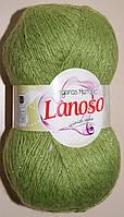 Пряжа для ручного вязания с мохером. Lanoso Angoras металик. Цвет: Зеленый светлый. 5 мотков