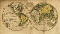 Фотообои: Карта мира два полушария
