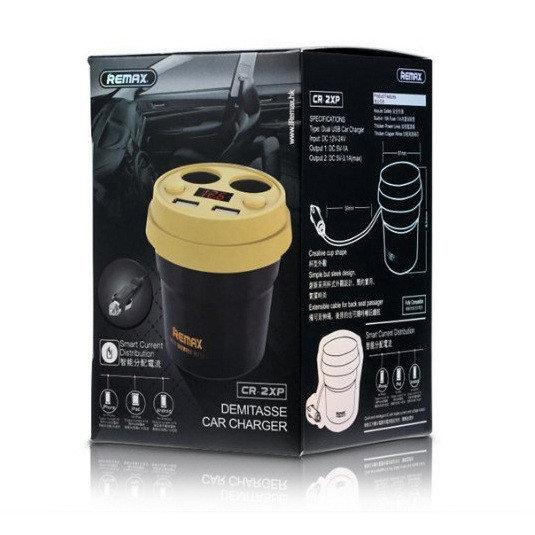 Автомобильное зарядное устройство Remax Demitasse CR-2XP 2*AutoPlug 2*USB white-brown
