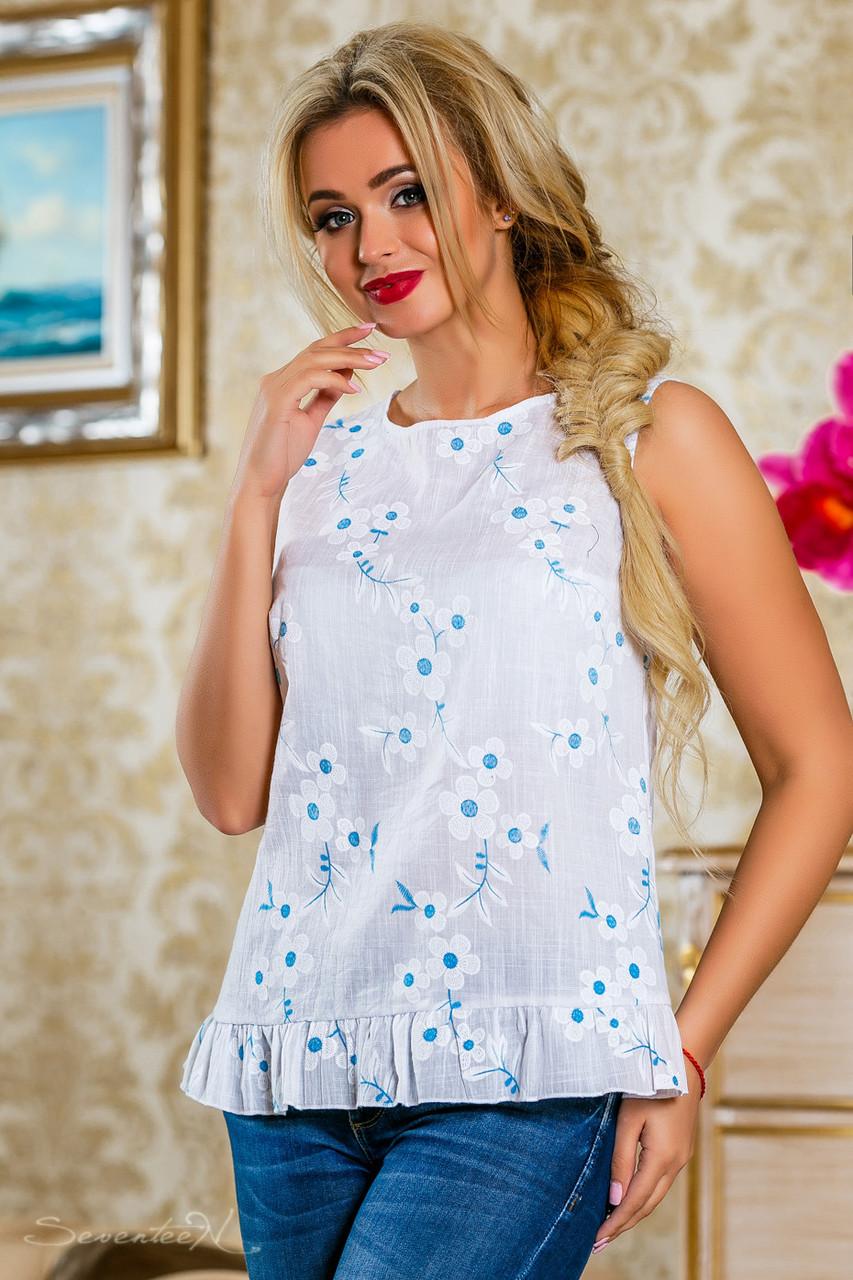 Блуза 2230 белый с цветочным принтом