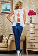 Блуза 2230 белый с цветочным принтом, фото 5