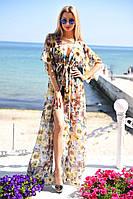 Необычная пляжная женская туника в пол приталенного фасона с цветочным принтом шифон Турция