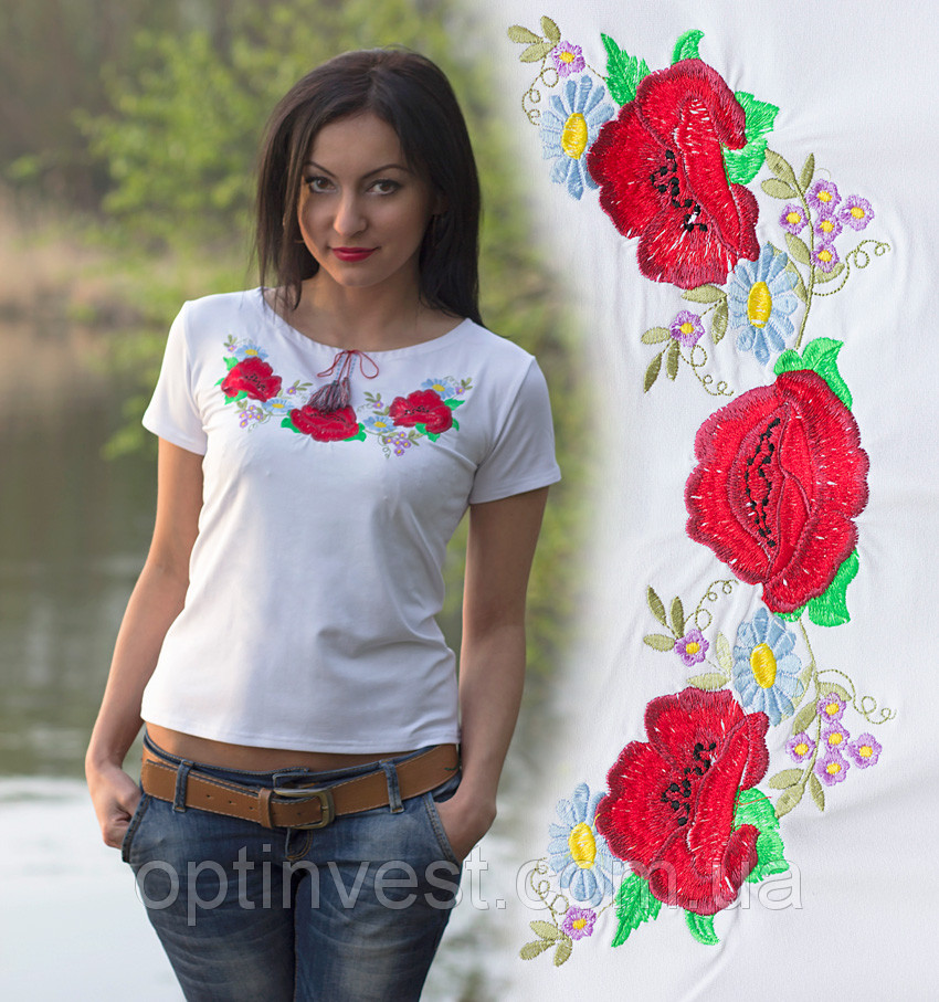 Вышиванка футболочка с маками