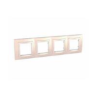 Рамка SCHNEIDER Unica Basic MGU2.008.559 c декоративным элементом, 4 места, крем/слоновая кость