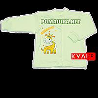 Детская кофточка р. 68 ткань КУЛИР 100% тонкий хлопок ТМ Алекс 3172 Зеленый А