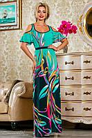 Летнее, длинное, нарядное платье, бирюзовое, ткань масло, размеры 42-52