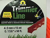 Леска 4.0 мм * 15 м витой квадрат для электротриммера ,бензокосы, мотокосы., фото 1