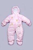 Детский зимний комбинезон для девочки (english pink) Модный Карапуз 03-00411-4