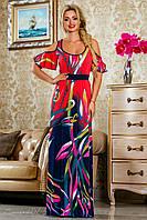 Летнее, длинное, нарядное платье, красное, ткань масло, размеры 42-52
