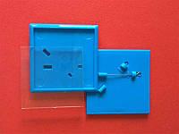 Квадратные акриловые значки заготовки. Цвет синий. Размер фото 44х44 мм