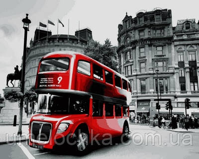 Раскраска по номерам Турбо Лондонский автобус (VP724) 40 х 50 см