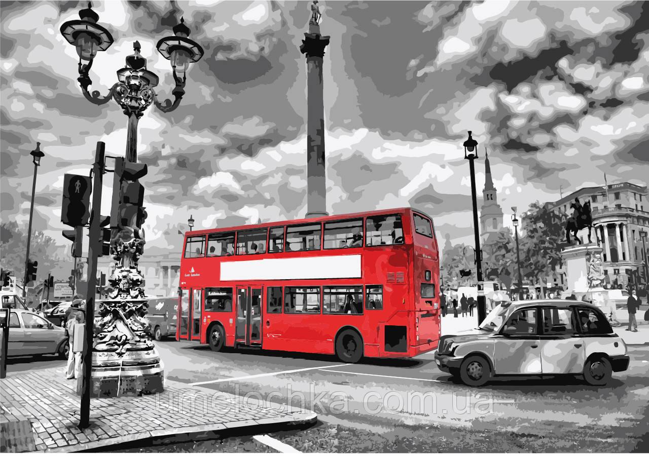 Картина по номерам без коробки Идейка Лондонский автобус (KHO2146) 35 х 50 см