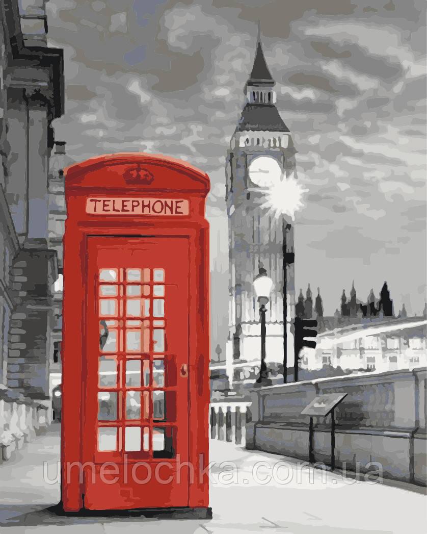 Холст по номерам без коробки Идейка Лондонский пейзаж (KHO2148) 40 х 50 см