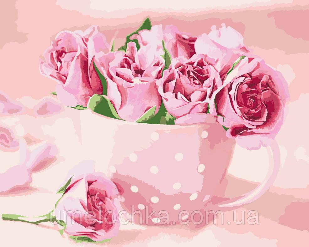 Раскраска на холсте без коробки Идейка Чайные розы (KHO2923) 40 х 50 см