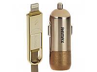 Автомобильное зарядное устройство Remax Finchy RC-C103 1*USB + Combo кабель gold