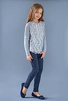 Реглан для девочки с гипюром (серый меланж) Модный Карапуз, разм.98-128