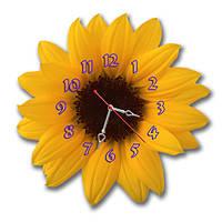 "Настенные фигурные часы ""Подсолнух"", часы с объемным эффектом, часы на стену, часы для дома"